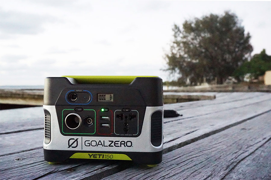 Goal Zero Yeti 150 sitting on outdoor deck