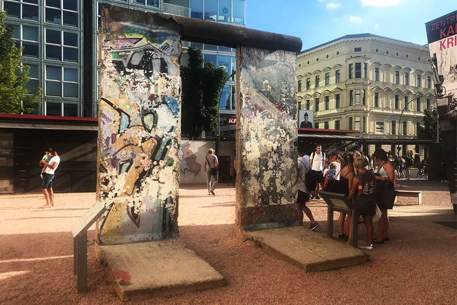 Piece of the Berlin Wall on display