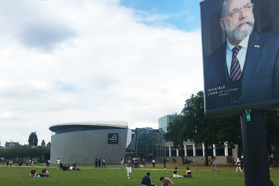 View of people relaxing around the Van Gogh Museum in Amsterdam