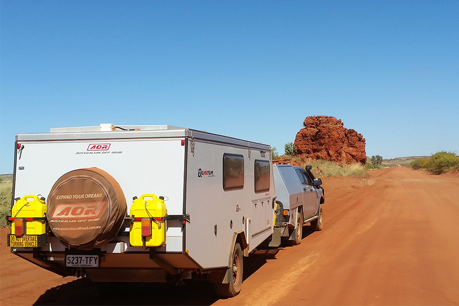 Driving along Boreline Road with the caravan