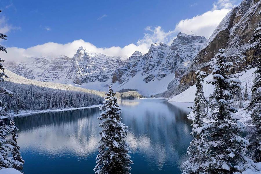 View of the Canadian Rockies in winter