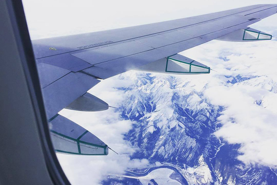 Flying over the Canadian Rockies