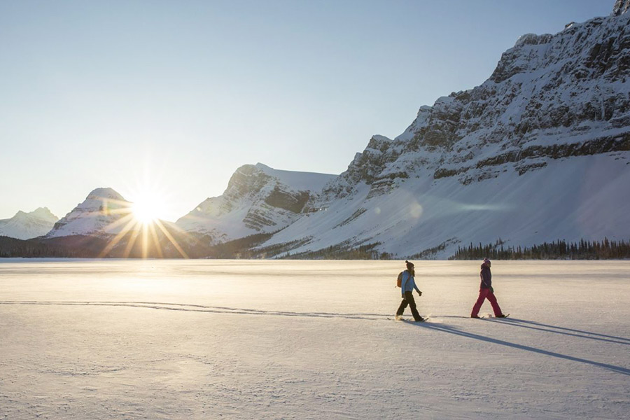 People walking on Lake Louise whilst frozen