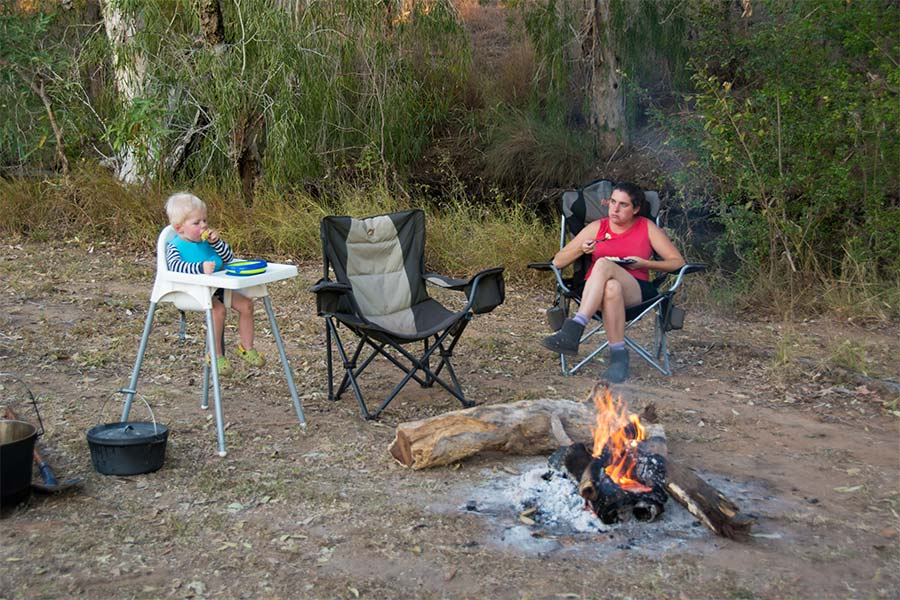 Relaxing-after-a-big-day by the campfire