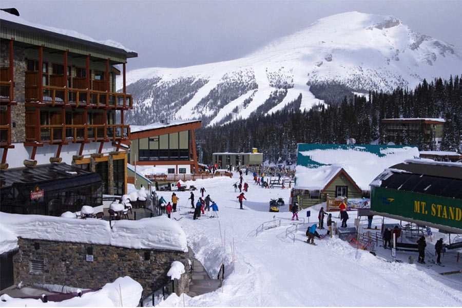View of people around Sunshine Village in Banff