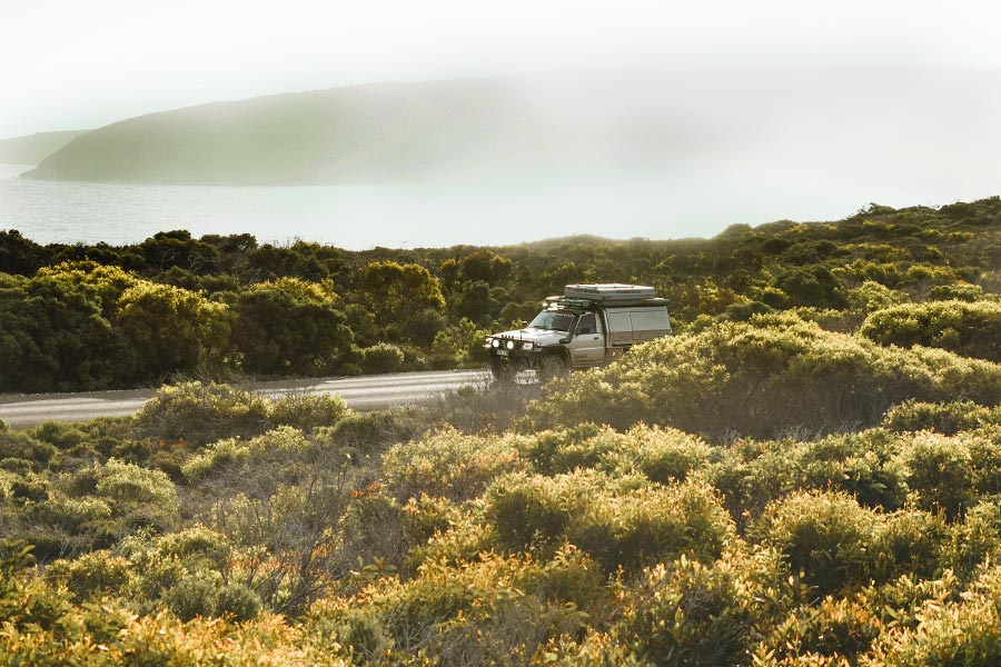 Vehicle driving down a road in Flinders Chase National Park