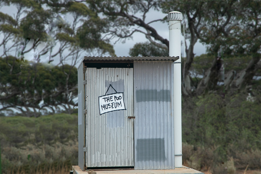 Bathroom facility on the side of a road along the Nullabor