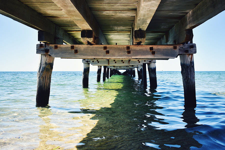 Under the jetty at Port Julia