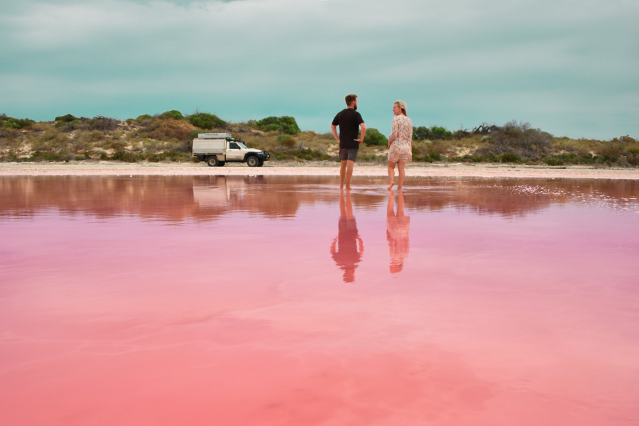 The beautiful pink Hutt Lagoon in the Kilbarri Gorges