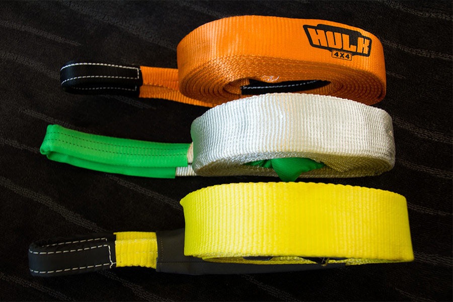 Orange, white and yellow straps for 4WD assistance