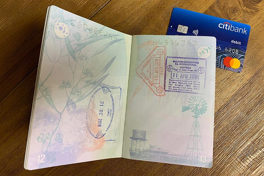 An Australian passport and Citibank card are essential items for travelling overseas