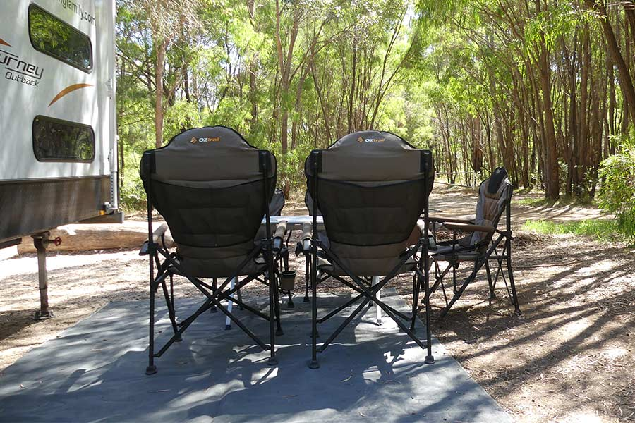 Outdoor matting for outdoor furniture area when caravanning