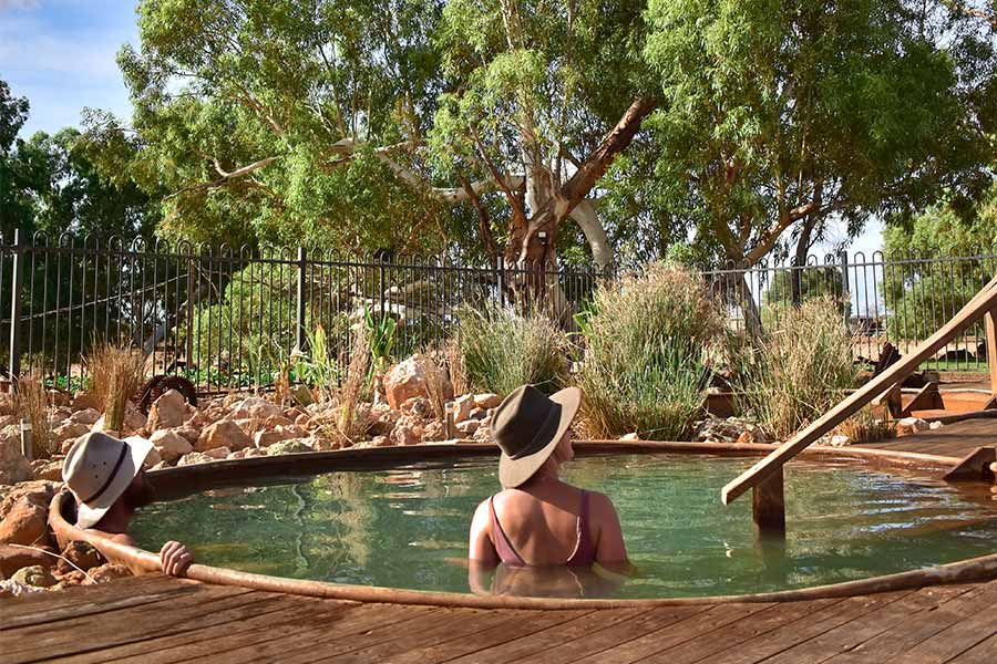Couple bathing outdoors at Wooramel Riverside Retreat