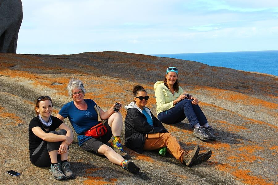 Women having a rest at Remarkable rocks on Kangaroo Island