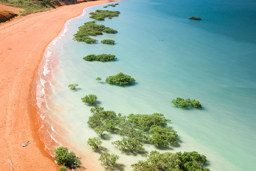 Bird's eye view of Port's Beach in Broome