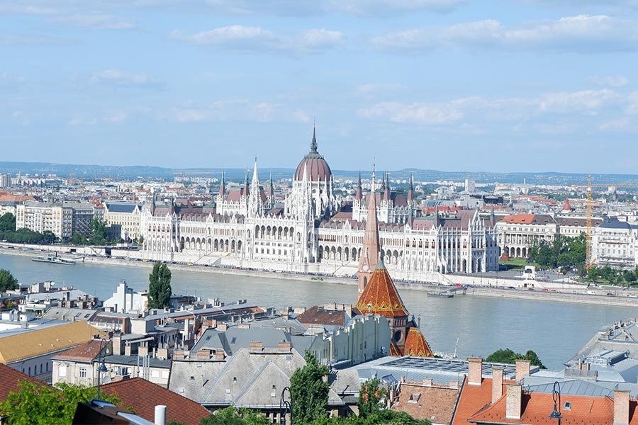 View of buildings and a river in Hungary