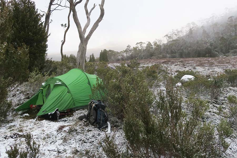 3-season-hiking-tent setup in the snow