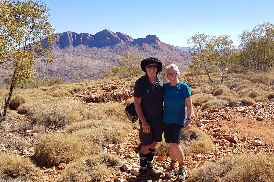 Couple posing for a photo along the Larapinta Trail