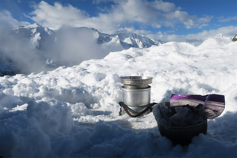 Trangia stove cooking in freezing conditions