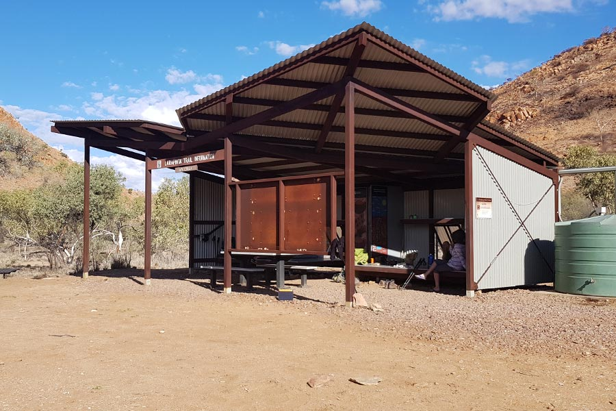 The shelter at Jay Creek along the Larapinta Trail