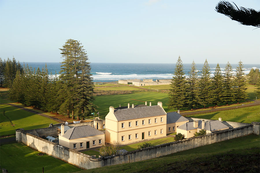 View of a government building in Norfolk Island by the beach
