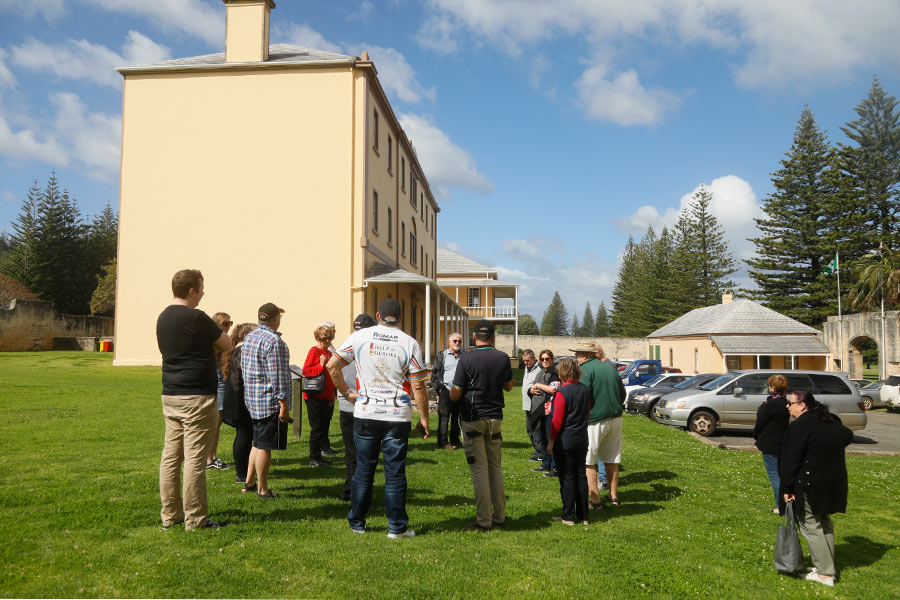 A tour group forming in Norfolk Island