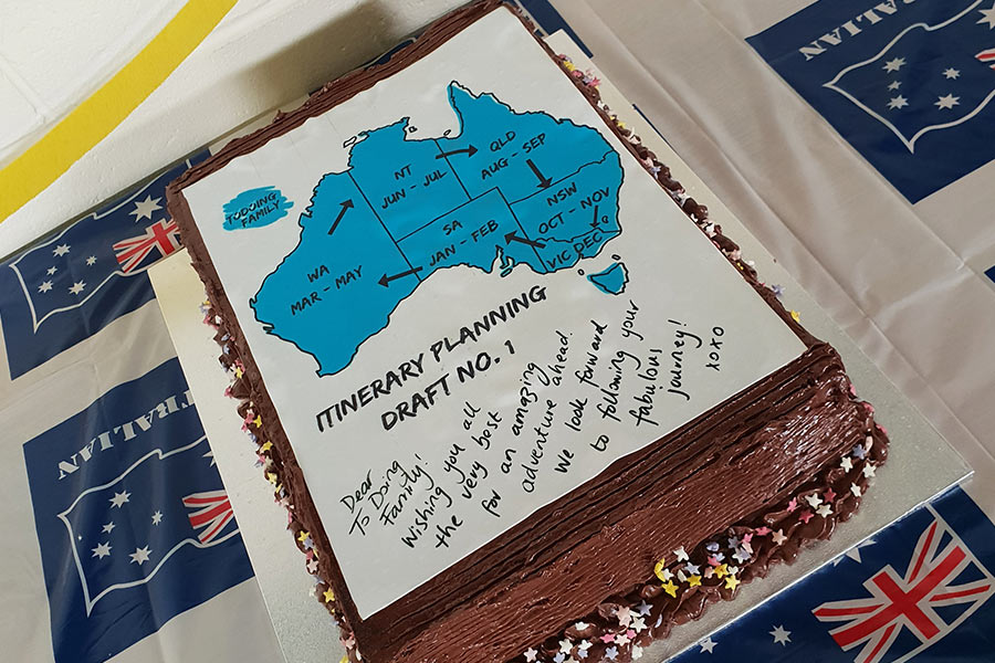 A cake with the itinerary planning written on it for when to travel around Australia