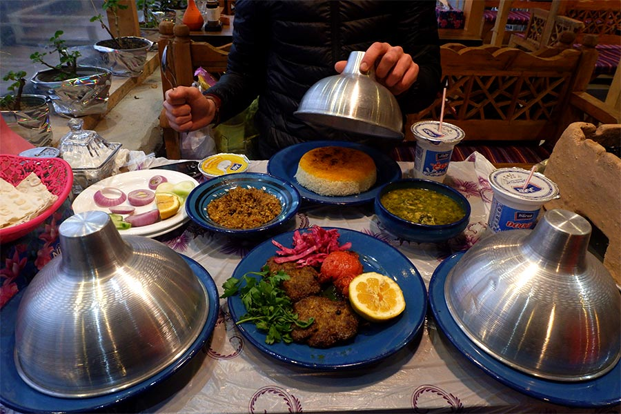 Food served on a table in a restaurant in Iran