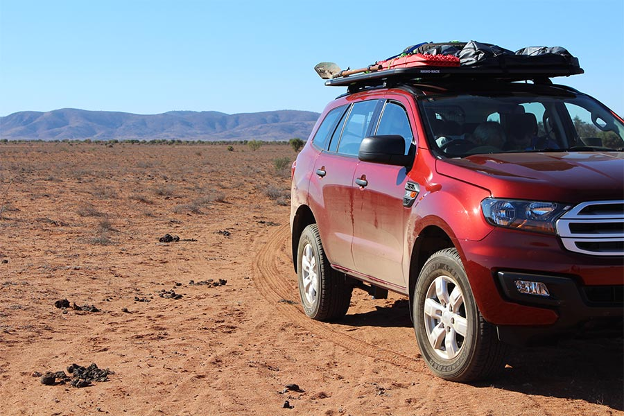 Roof rack on top of 4wd in the outback