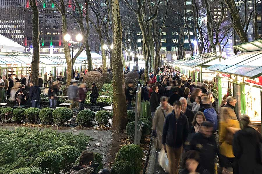 People shopping at a Christmas market in NYC