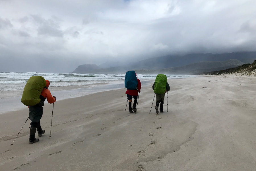 Hikers getting sandblasted along Prion Beach