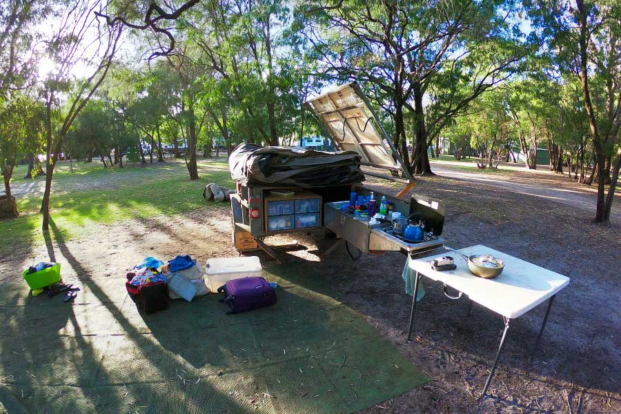 Packing up a campsite kitchen
