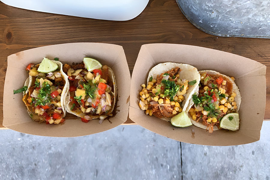 Two servings of tacos on a table in a restaurant in Florida