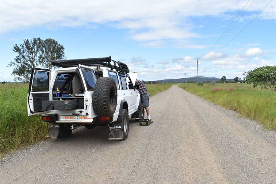 A 4wd broken down on the side of the road