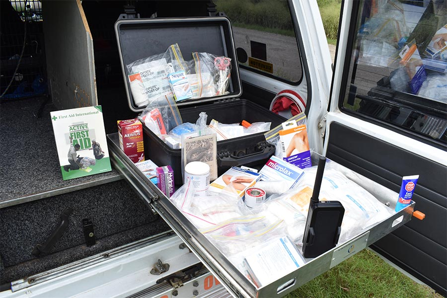 A first aid kit and a communication device to keep in a 4wd