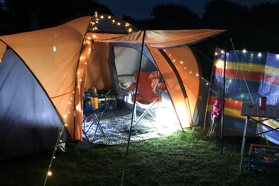 Fairy lights on tent at night