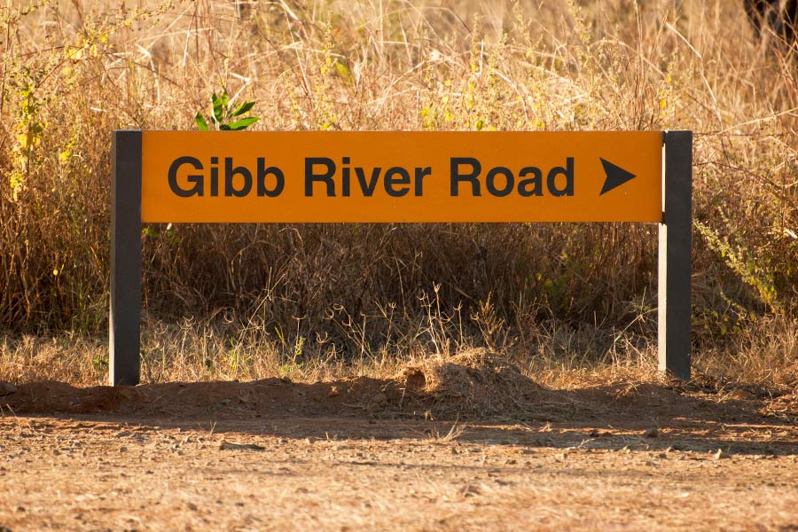 A yellow sign that says Gibb River Road