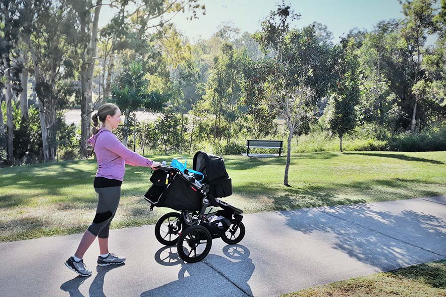 A woman pushes a stroller along a path at a park