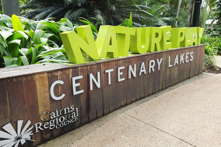 A 3D sign that reads NATURE PLAY