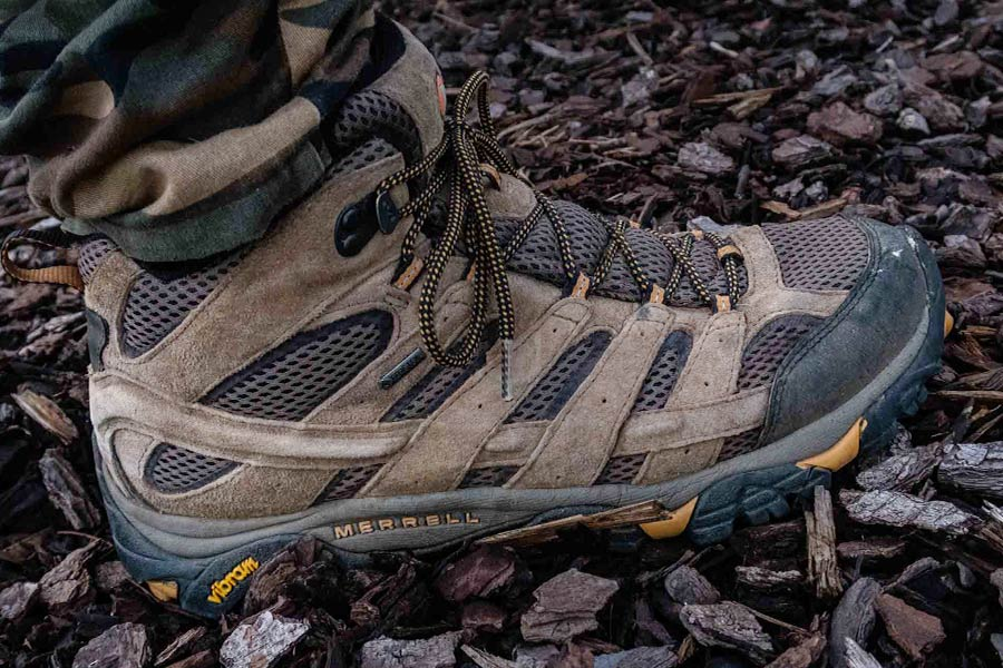 A close up of a Merrell boot