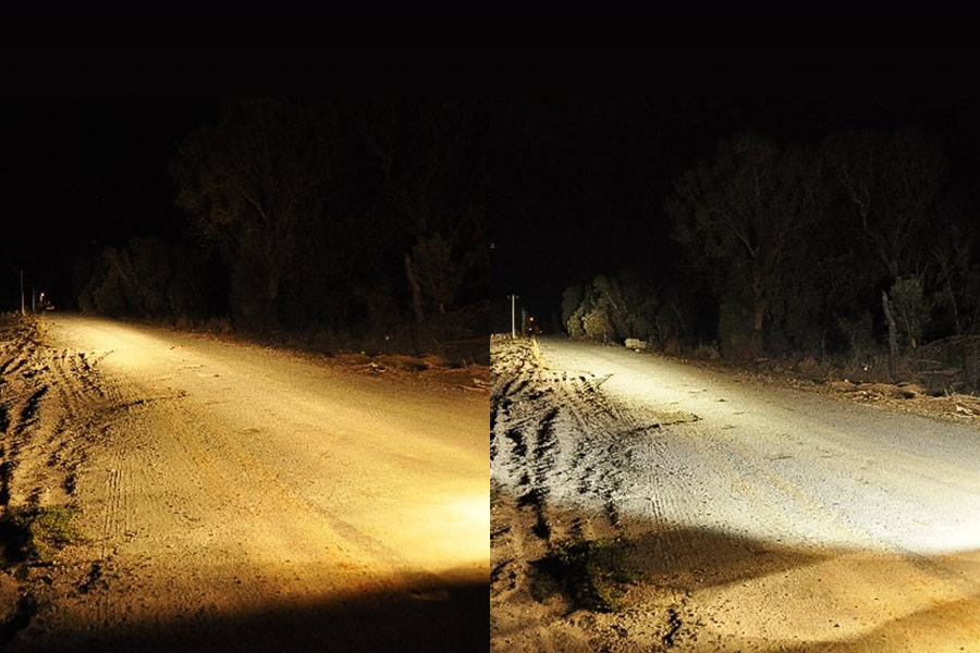 Side by side images of 2 different lights used in the same spot on a road at night