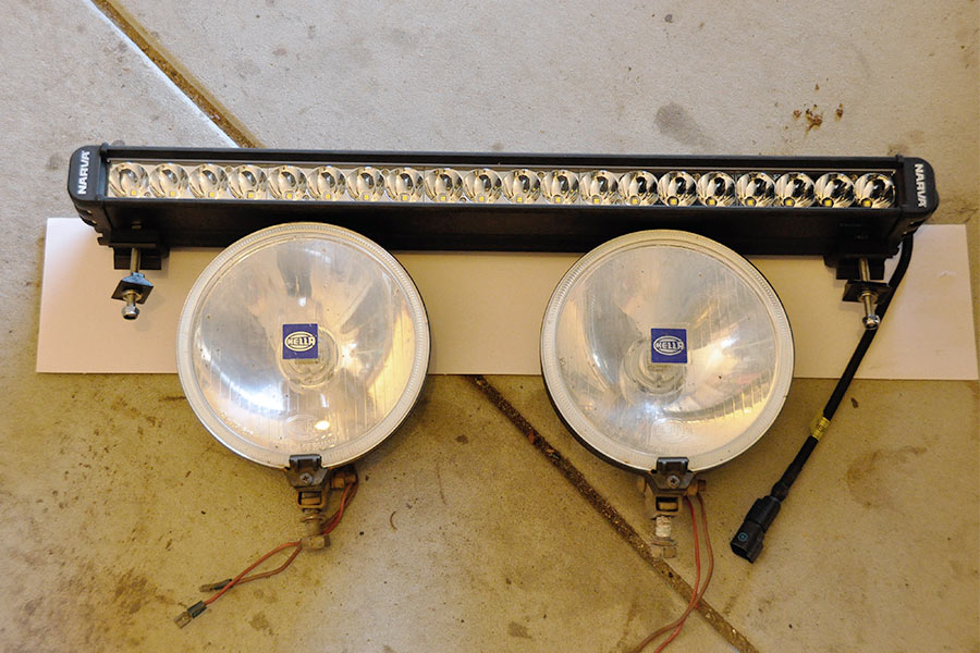 A set of original spotlights on the ground