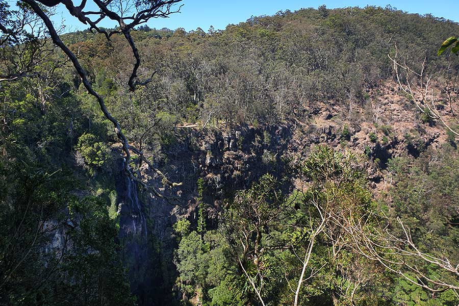 The view from a lookout of a a mountain across a gorge