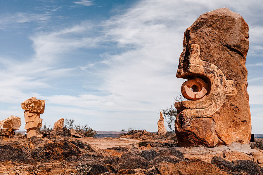 One of the 12 sandstone sculptures that make up The Living Desert Reserve.