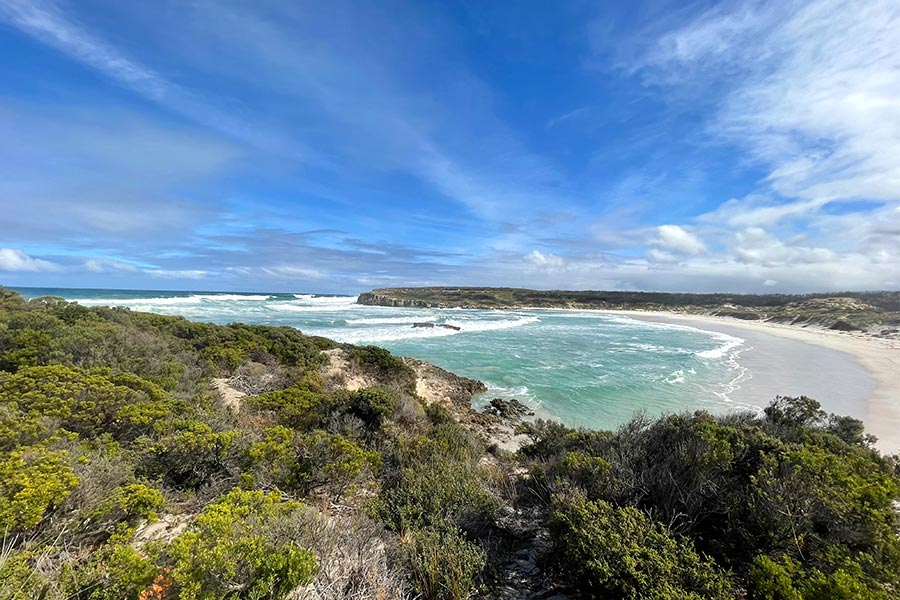 Pristine coastline with a white sandy beach, tourquoise ocean and blue sky with wispy cloud.
