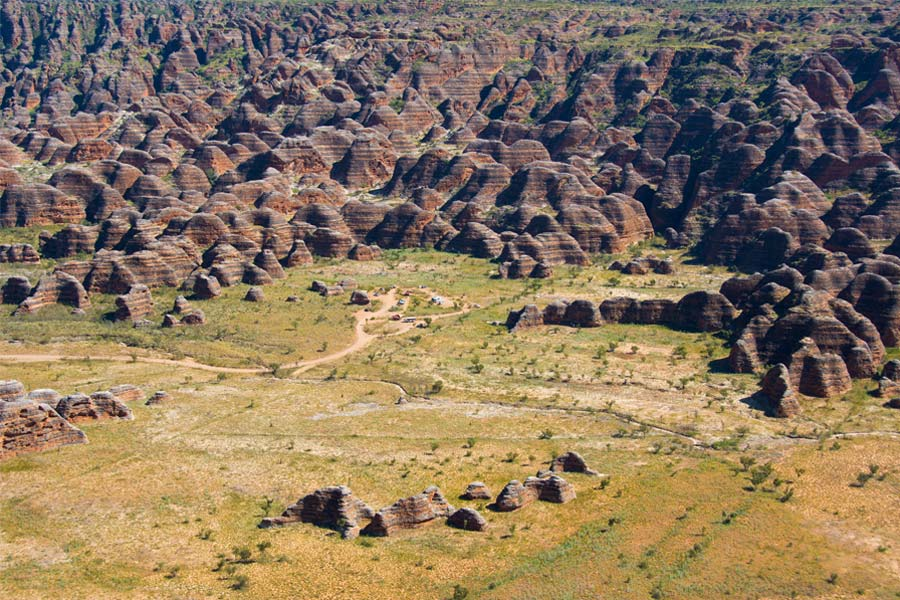 An aerial view of the spectacular Bungle Bungle Range in WA.