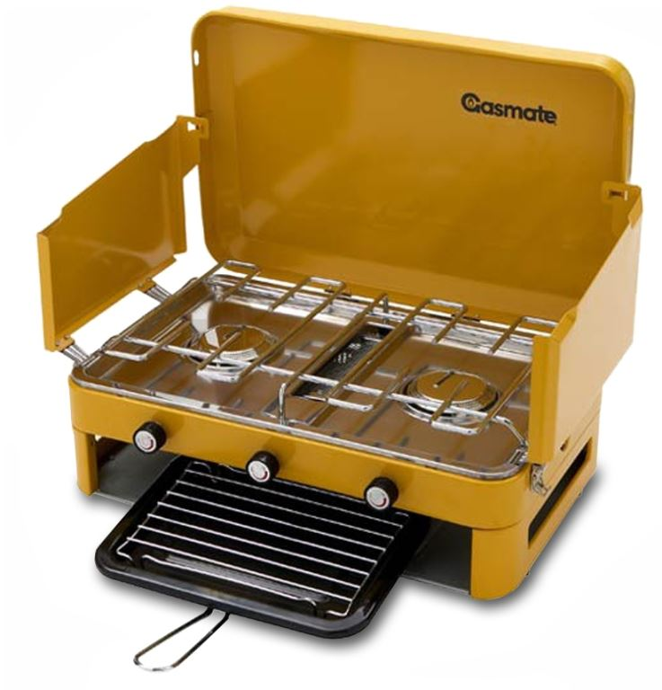 3 Burner Camp Stoves: Gasmate 2 Burner Stove With Griller