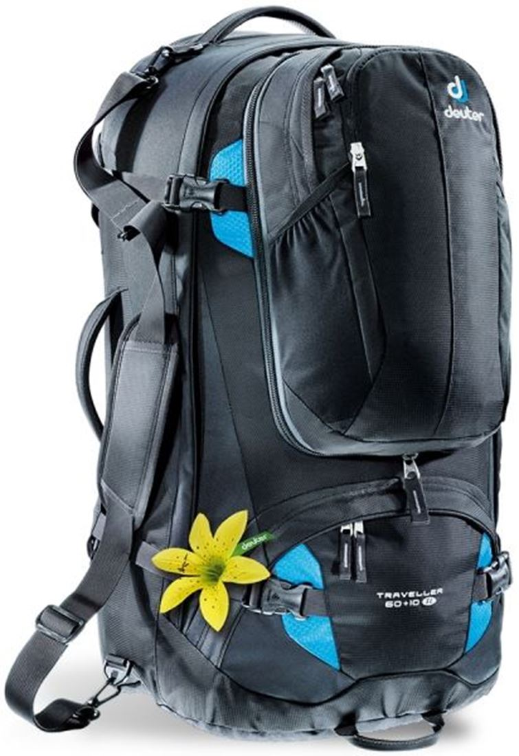 Picture of Deuter Traveller 60+10 SL Travel Pack - Black/Turquoise
